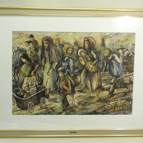 """Roland IROLLA (né en 1935). """"L'exode. Encre de Chine et aquarelle sur papier, si…"""