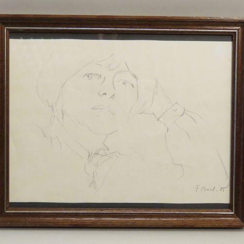 Jacques BUREL (1922 2000). Portrait de Dame, 1985. Crayon sur papier, signé et d…