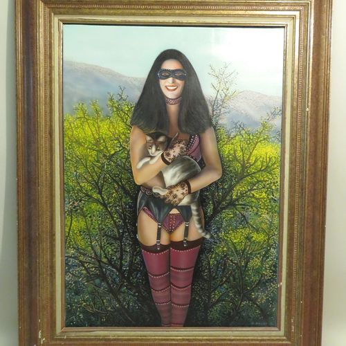Gérard BAUER (né en 1947). Madame et le chat. Huile sur toile, signée en bas à d…