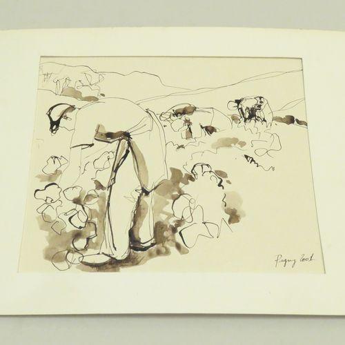 Corine PAGNY (né en 1959). Le ramassage, 2001. Encre de Chine et lavis d'encre s…