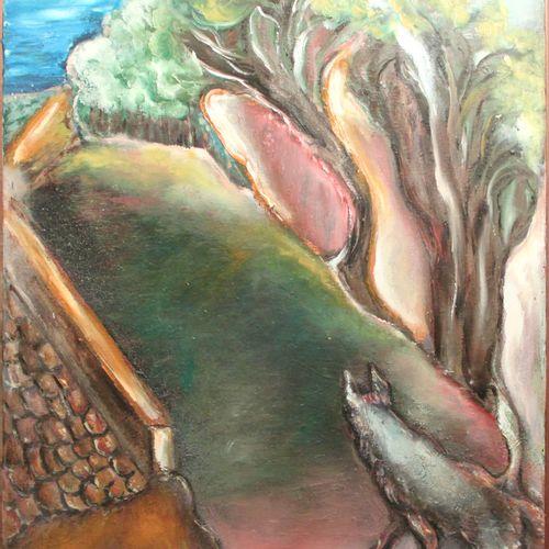 Ketty DI SCIARA (XXème). Composition. Huile sur toile, signée en bas à gauche. H…