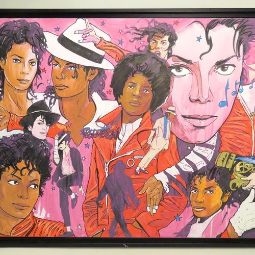 """FREDDISH (né en 1971). """"Memory Michael Jackson"""", 2011. Acrylique et Posca sur to…"""