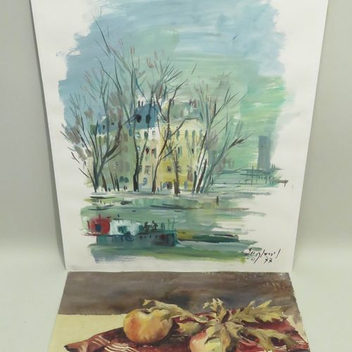 Lot de deux gouaches/aquarelles sur papiers, signées. 65 x 50 cm (la plus grande…