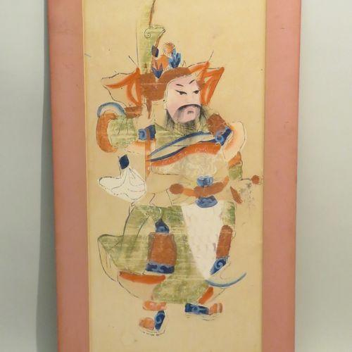 Gardien. Aquarelle et gouache sur carton. XXème siècle. 57 x 27 cm.