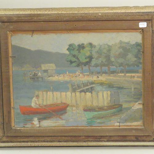 Attribué à Jeanne Clémentine THOINOT (Xxème). Payasge méditerranéen & barques et…