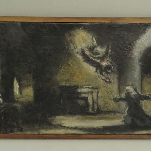 B.G.. L'annonciation, 1956. Huile sur toile, monogrammée et datée en bas à gauch…