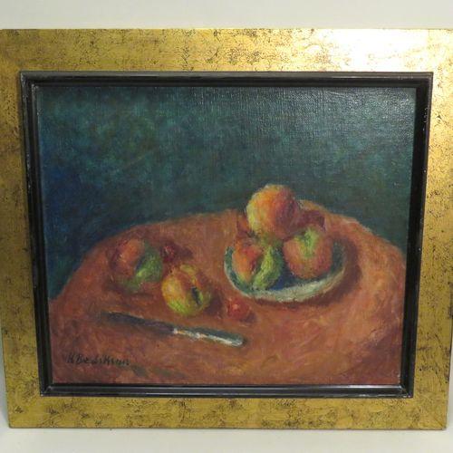 Krikor BEDIKIAN (1908 1981). Nature morte aux fruits. Huile sur papier marouflé …