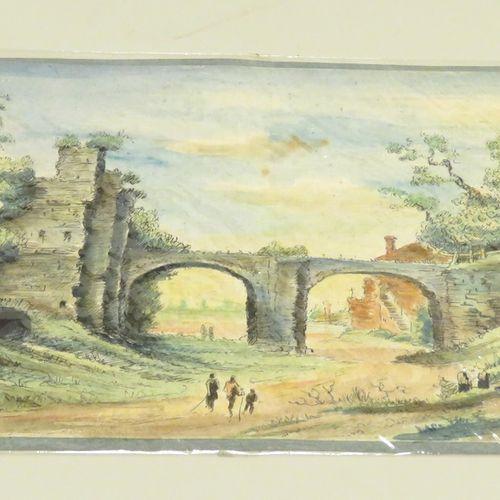 Paysage au pont, des promeneurs en premier plan. Encre de Chine et aquarelle sur…