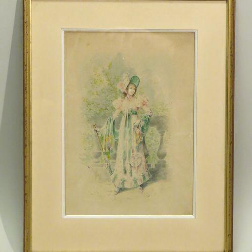 Attribué à Eugène Henri CAUCHOIS (1850 1911). Elégante au balcon. Aquarelle sur …