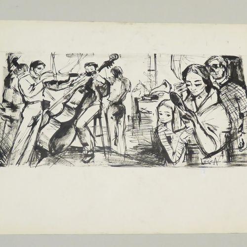 """Bernard LOCCA (1926 1997). """"L'Orchestre"""". Encre de Chine sur papier fort, signée…"""