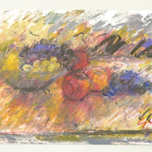 """Pierre GOGOIS (né en 1935). """"Pommes et raisin"""". Pastel gras sur papier, signé en…"""