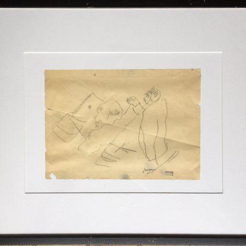 Jules PASCIN (1885 1930). Le Barreau. Mine de plomb sur papier, signée du cachet…