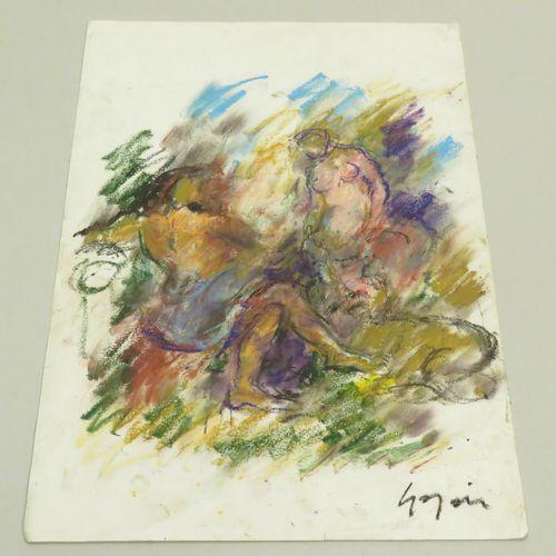"""Pierre GOGOIS (né en 1935). """"Le Dieu de Lescaut, d'après RUBENS"""". Pastel gras su…"""
