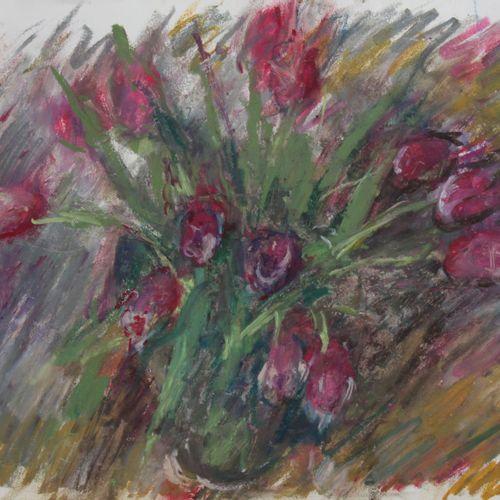 """Pierre GOGOIS (né en 1935). """"Tulipes"""" . Pastel gras sur papier, non signé. Haut …"""