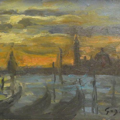 Pierre GOGOIS (né en 1935). Soleil sur Venise. Huile sur isorel, signé en bas à …