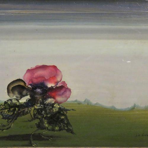 Pierre LE COLAS (né en 1930). Composition surréaliste. Huile sur panneau, signée…
