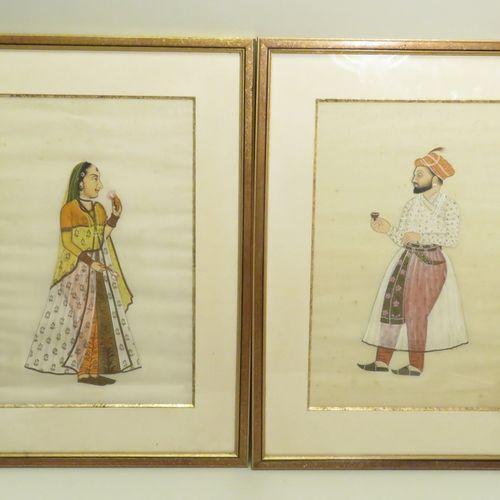 Couple (diptyque). Peinture et rehauts de dorés sur soie. Iran, fin du XIXème si…