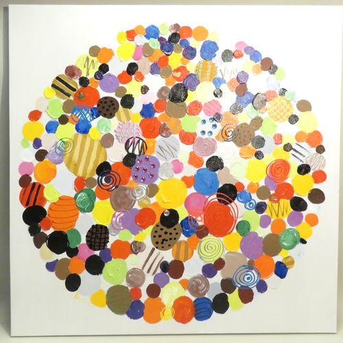 Composition. Huile et collage de strass sur toile, non signée. Haut : 100 cm Lar…