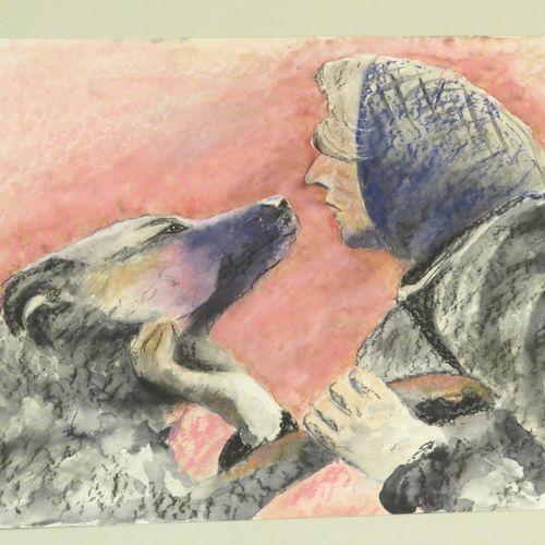 La dame et son chien. Aquarelle et pastel sur papier fort, non signée. 42 x 56 c…