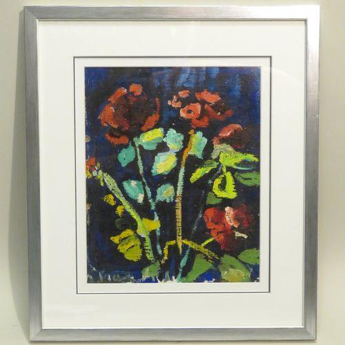 Anne FRANÇAIS (1909 1995). Composition aux fleurs. Huile sur toile assemblée sur…