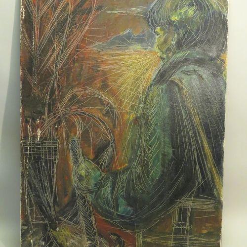"""G.MERLIN (XXème). Composition. Huile sur toile, signée en bas à droite """"G.MERLIN…"""