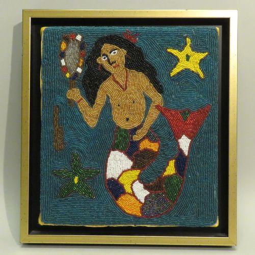 ANONYME (Xxème). Déese de La Mer, Haïti. Perles de couleurs assemblées, non sign…