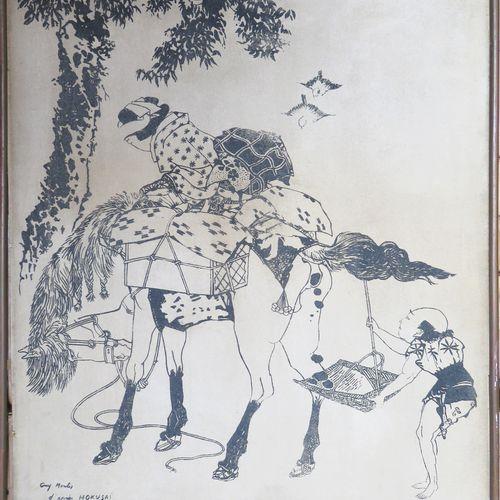 Guy MONTIS (1918 1976). Composition d'après HOKUSAI. Technique au sable sur cart…