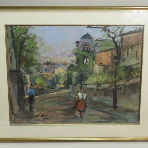 Georges BERGER (1908 1976). Ruelle à Montmartre, 1955. Pastel sur papier, signé …