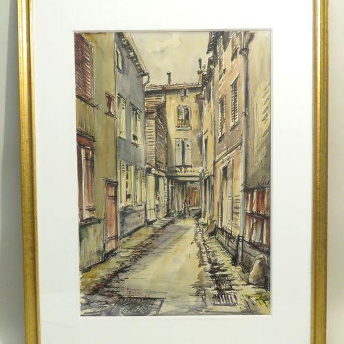 Roland IROLLA (né en 1935).Vue de ruelle, 1964. Encre de Chine et aquarelle sur …