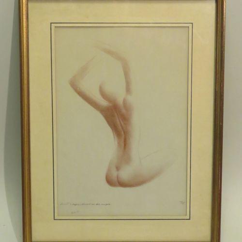 THUG ? (Xxème). Nu féminin, 1973. Sanguine sur papier, signée en bas à droite, d…
