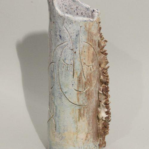 Nicola QUICI (né en 1951). Vase en grès émaillé polychrome à coulées et orné d'u…