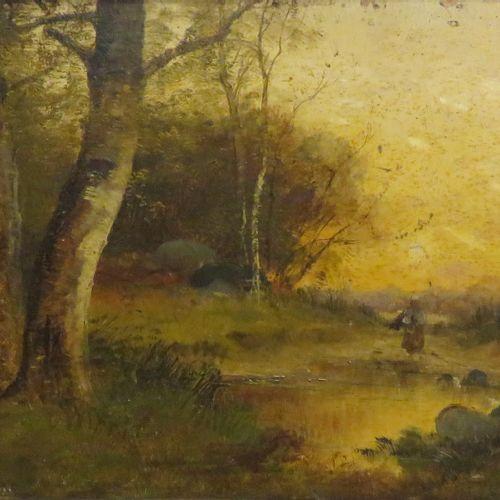 Pierre Ernest BALLUE (1855 1928). Paysanne en sous bois, 1881. Huile sur panneau…