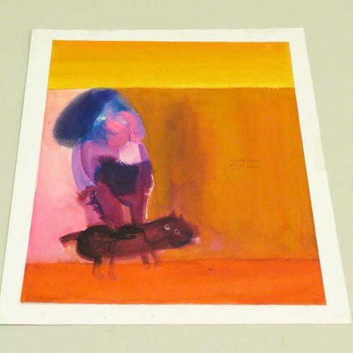 Bogoljub IVKOVIC (né en 1924). Composition, 1966. Aquarelle sur papier fort, sig…