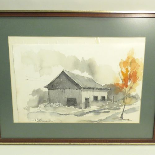 BELLEMARE (Xxème). Vue de maison. Aquarelle sur papier, signée en bas à gauche. …