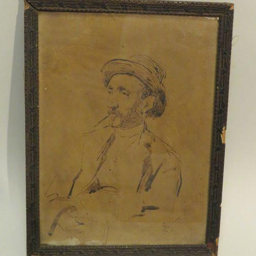 Luigi SERENA (1855 1911). Homme à la cigarette, 1891. Dessin à la plume et au la…