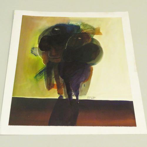 Bogoljub IVKOVIC (né en 1924). Composition, 1967. Aquarelle sur papier fort, sig…