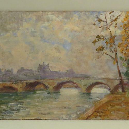 Ecole française du Xxème siècle. Vue du Pont Royal, Paris. Huile sur panneau, po…