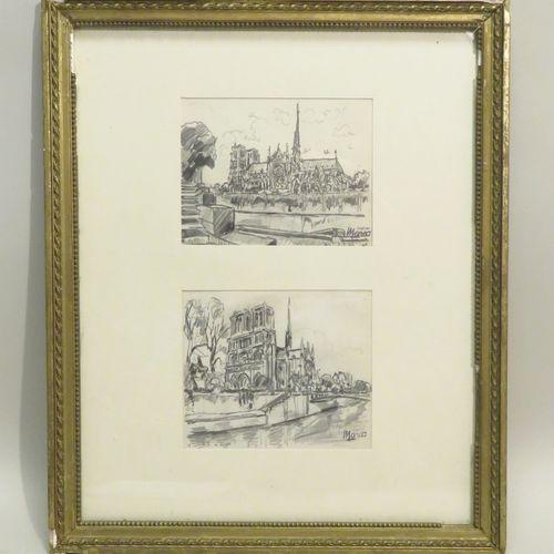 """René Emmanuel MARCA (1893 1962). """"Notre Dame de Paris, 1942. Ensemble de deux de…"""