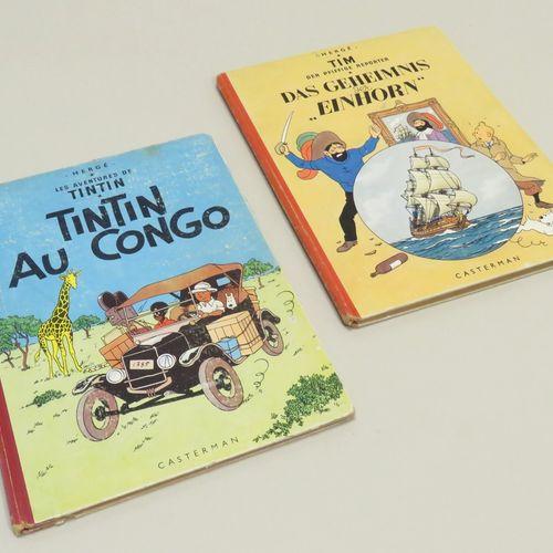 """Lot de deux bandes dessinnées, comprenant : """"TINTIN au Congo"""", éditions Casterma…"""