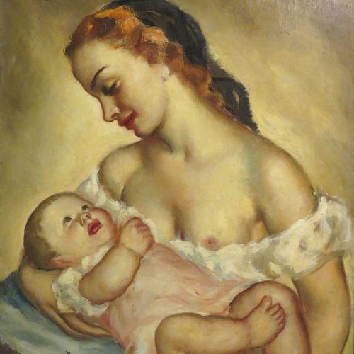 Georgette NIVERT (Xxème). Maternité. Huile sur panneau, signée en bas à gauche. …