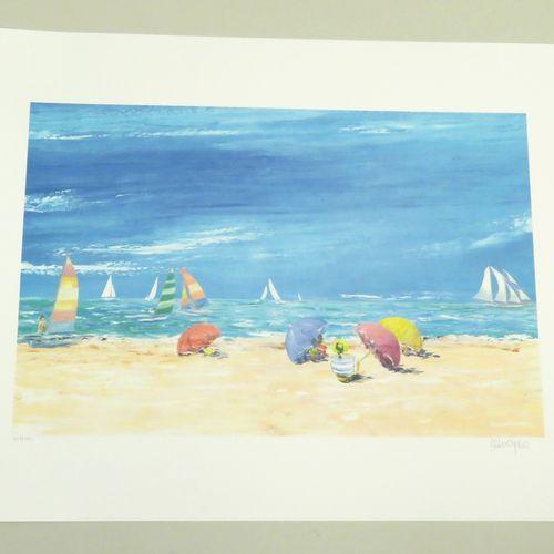 Serge DESNOYERS (né en 1954). Scène de plage. Lithographie couleurs sur papier f…