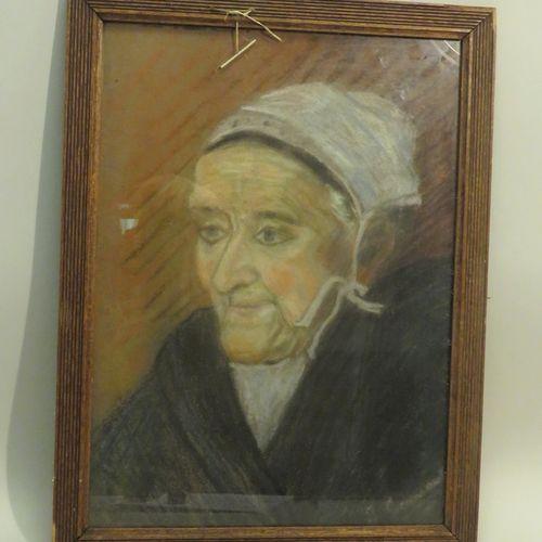 Ecole française du Xxème siècle. Portrait de bretonne. Pastel sur papier, porte …