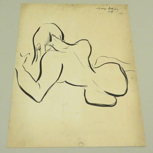 Serge ASTORG (1923 1998). Nu féminin, 1957. Encre de Chine sur papier fort, sign…
