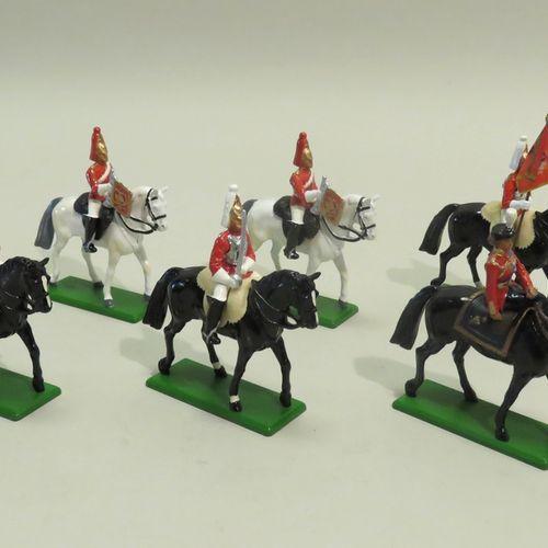"""W BRITAIN, Angleterre, 1988. Ensemble de six cavaliers à cheval """"Garde Royale"""" e…"""