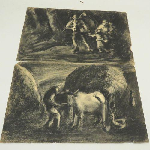 ANONYME. Lot de deux dessins au fusain sur papier Vergé, non signés. 33 x 50 cm …