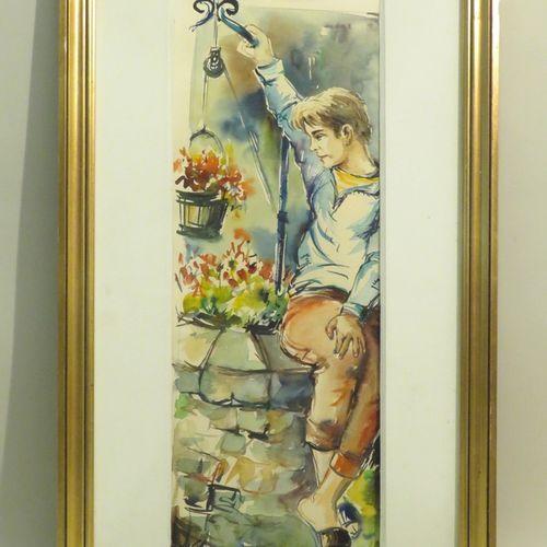 Roland IROLLA (né en 1935). L'Homme au puit. Aquarelle sur papier, signée en bas…
