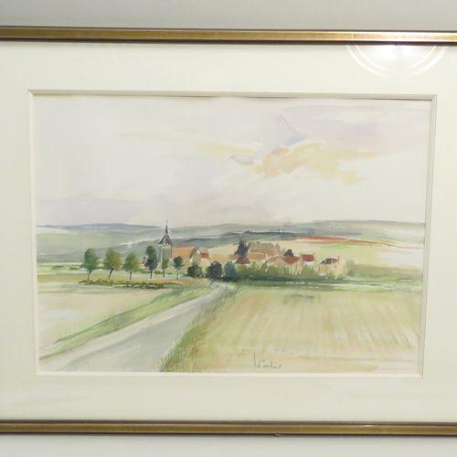 Paysage. Pastel et aquarelle sur papier, porte une signature en bas à droite (il…