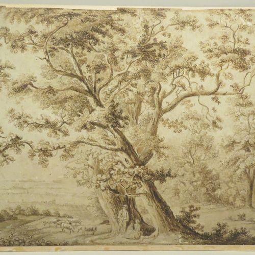 Ecole française du XIXème siècle. Scène champêtre, 1814. Dessin à la plume sur p…