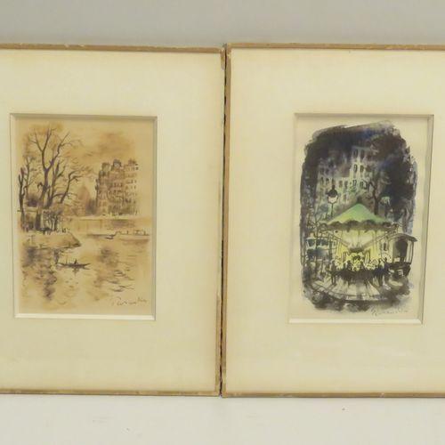 Paul PERRAUDIN (1907 1993). Compositions. Lot de deux aquarelles sur papier, sig…