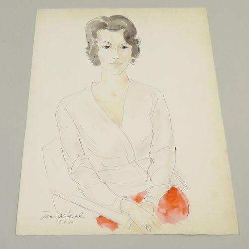 Jean MORAL (1906 1999). Portrait de femme, 1960. Encre de Chine et aquarelle sur…